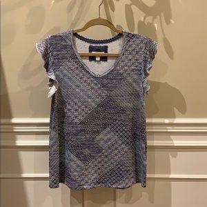 Blue ruffle-sleeved shirt